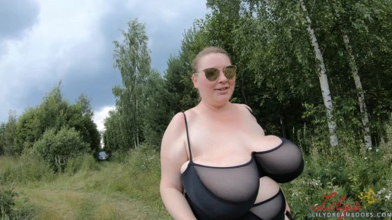 Running in see through swimsuit top 4K